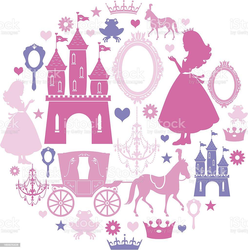 Princess Icon Set vector art illustration
