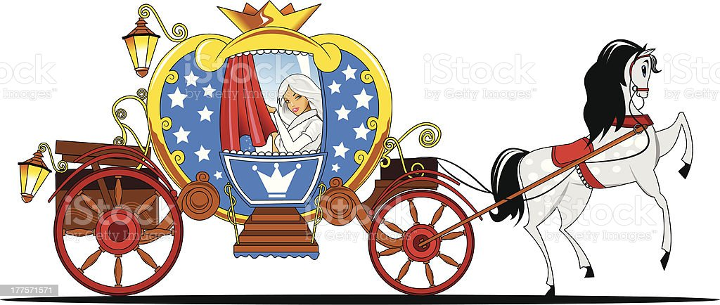 princess in a carriage royalty-free stock vector art