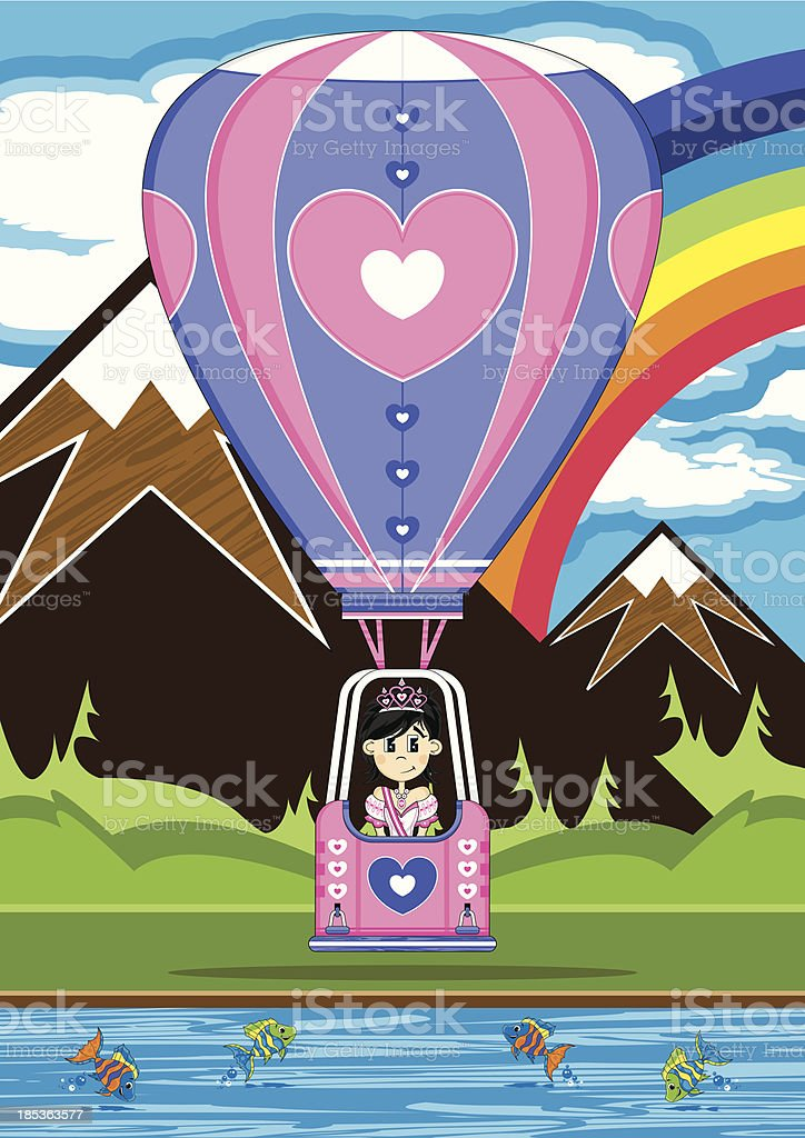 Princess in Heart Hot Air Balloon royalty-free stock vector art