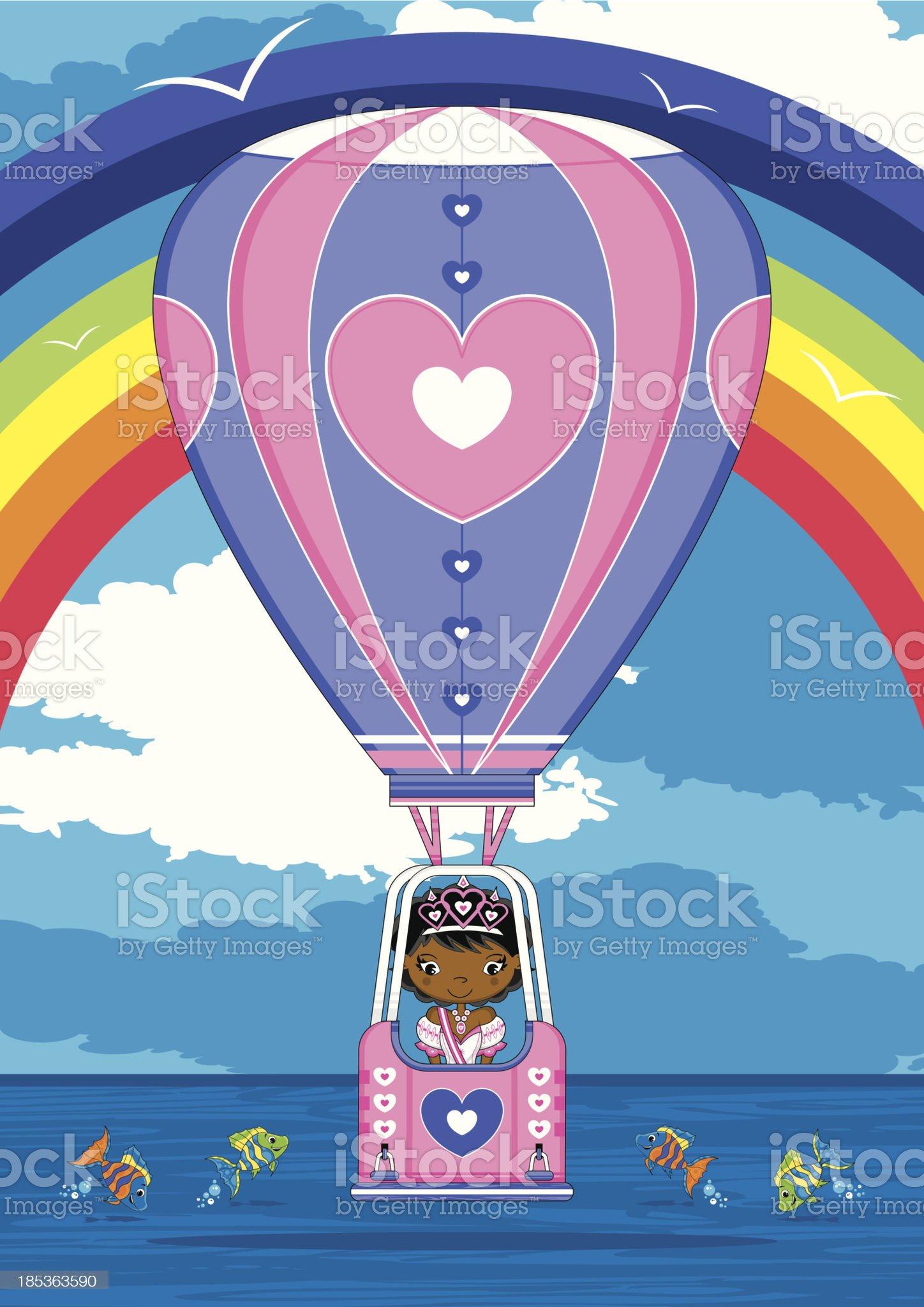 Princess in Heart Hot Air Balloon royalty-free stock vector art