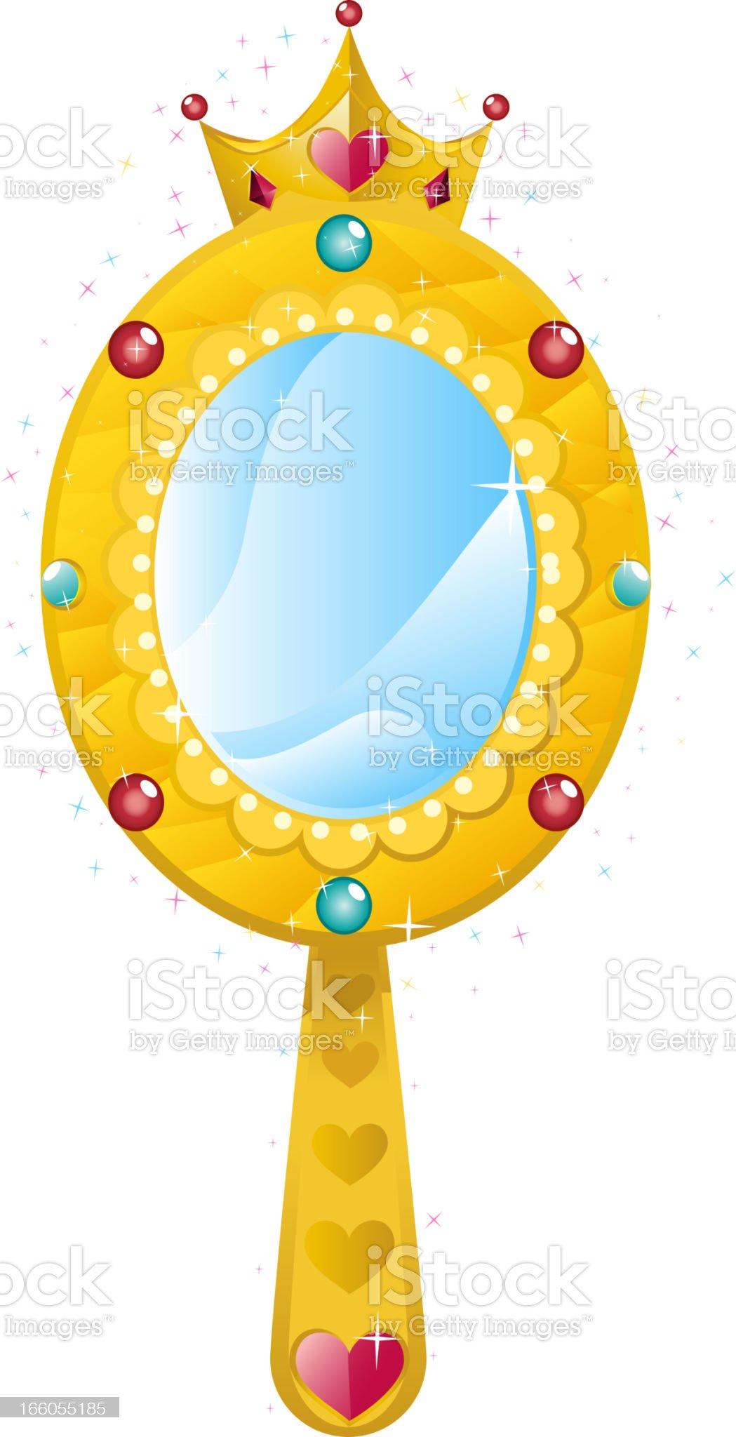 Princess magic mirror with shining hearts and diamonds royalty-free stock vector art