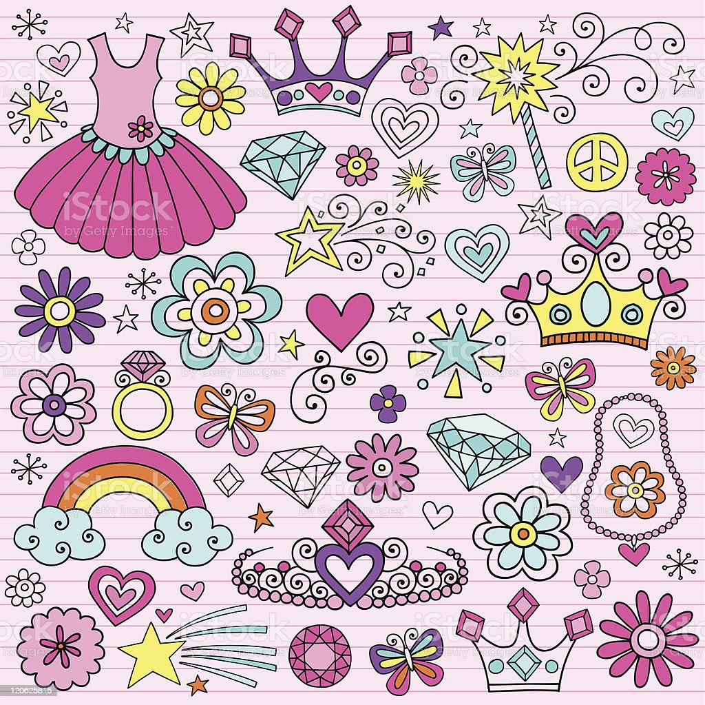 Princess Notebook Doodle Design Elements royalty-free stock vector art