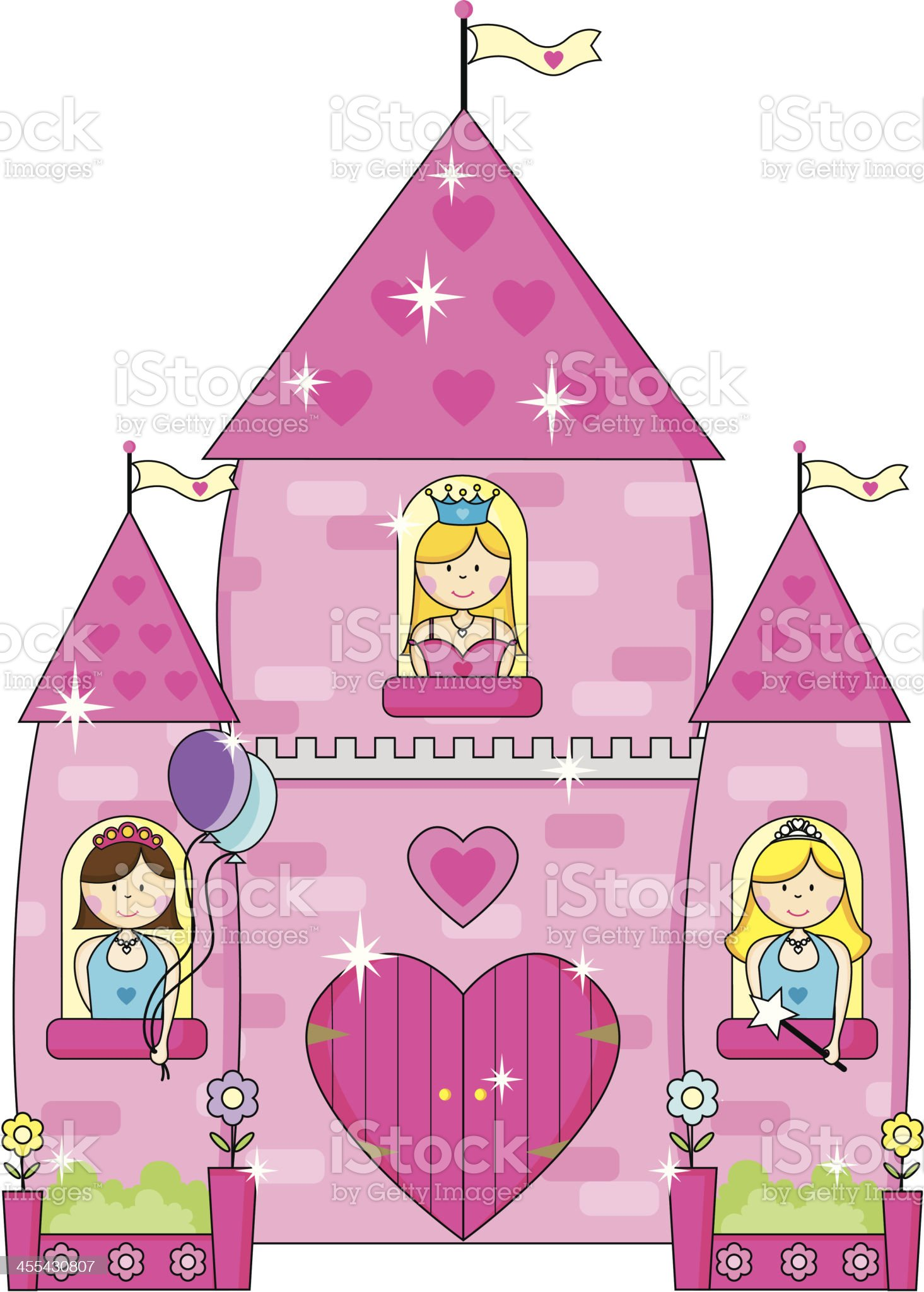 Princess Party Palace with Balloons royalty-free stock vector art