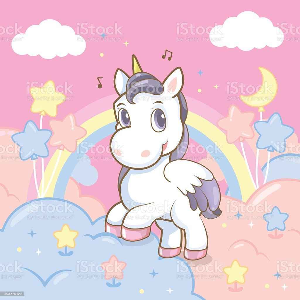 princess rainbow in the sky vector art illustration