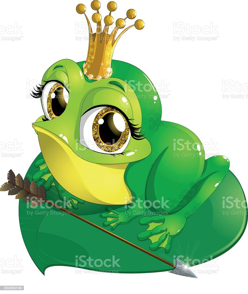 Princess the frog vector art illustration