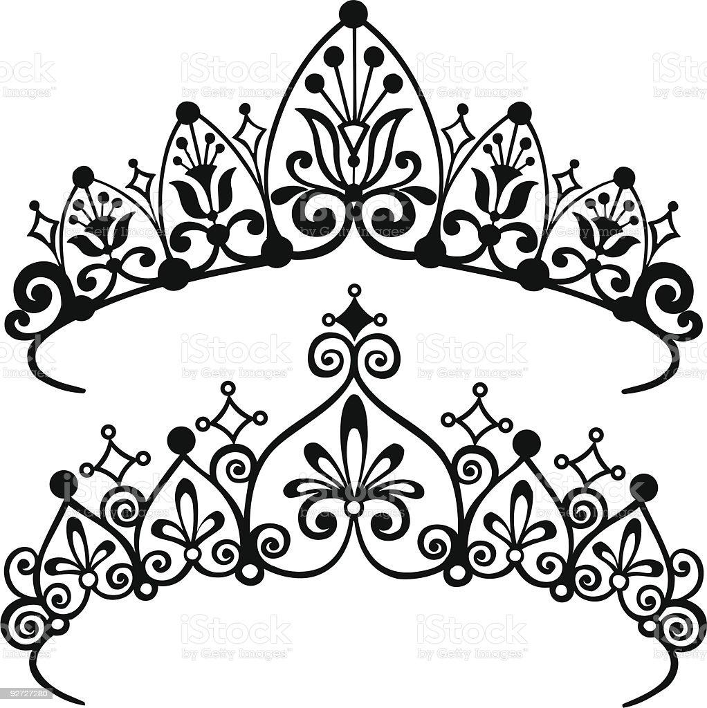 Princess Tiara Crowns Silhouette Vector Illustration vector art illustration
