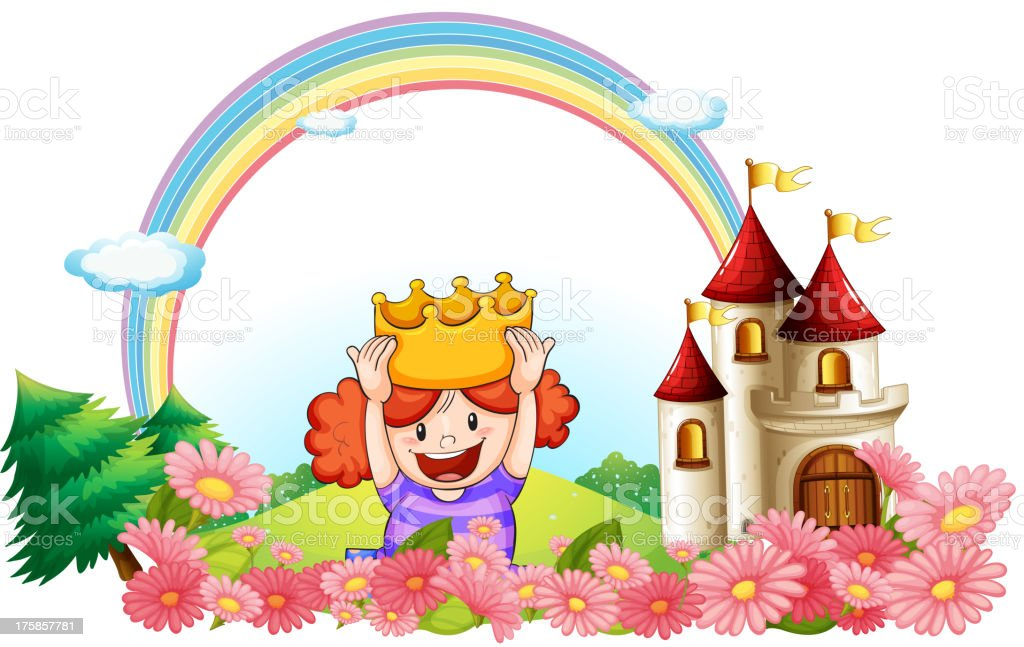princess with a castle at the back royalty-free stock vector art