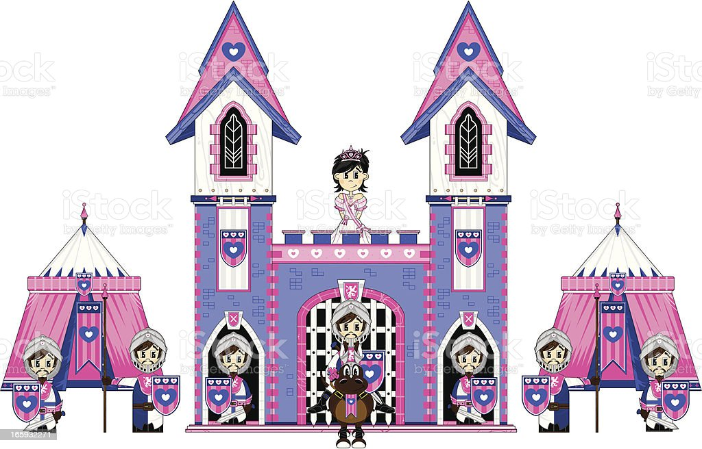 Princess with Royal Guards at Castle royalty-free stock vector art