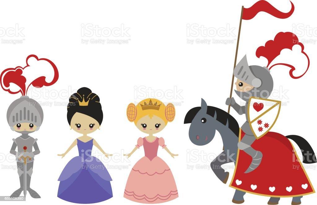 Princesses and knights vector art illustration