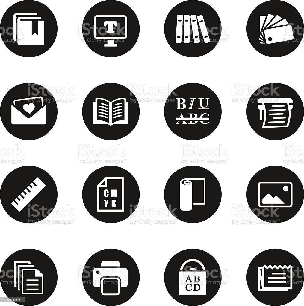Print and Publishing Icons - Black Circle Series vector art illustration