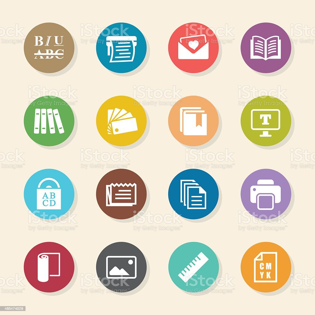 Print and Publishing Icons - Color Circle Series vector art illustration