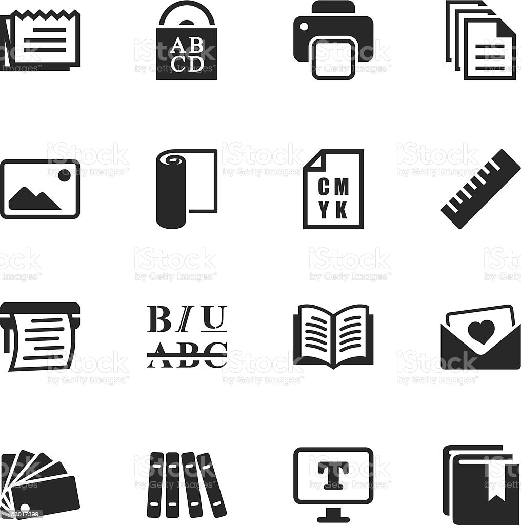 Print and Publishing Silhouette Icons vector art illustration