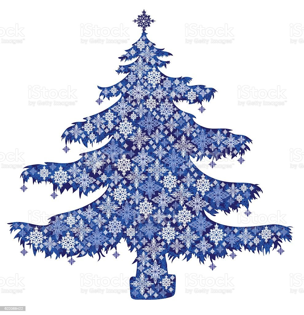 Print Christmas tree with snowflakes vector art illustration