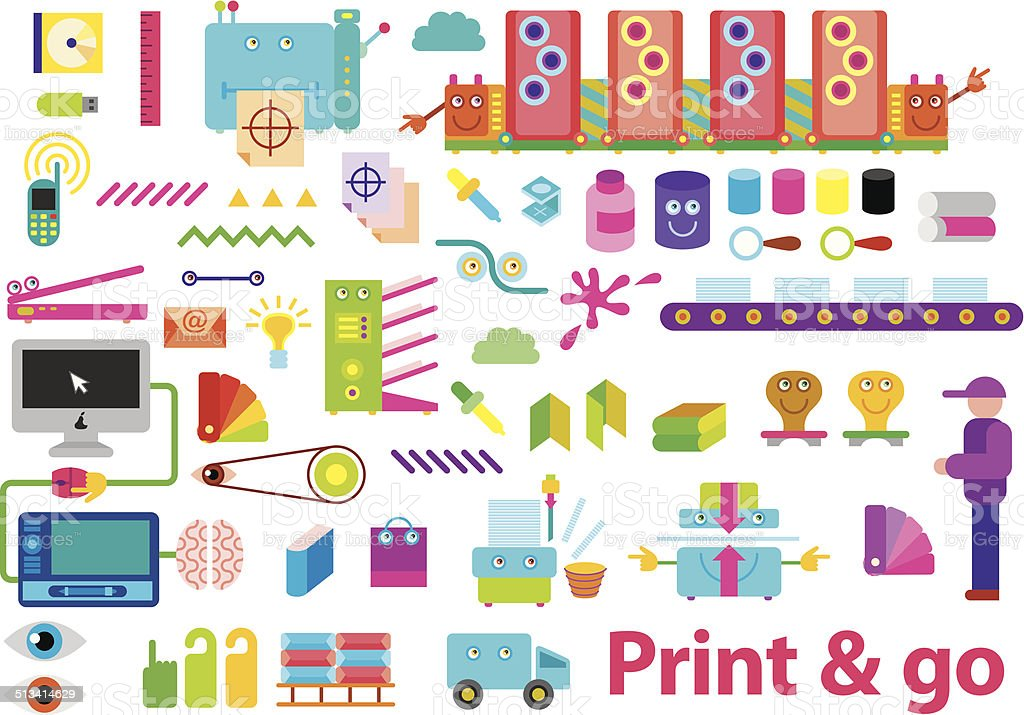 Print Concept vector art illustration