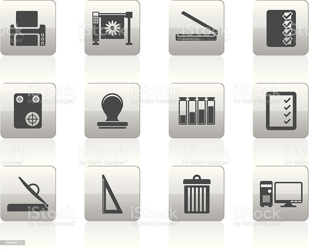 Print industry Icons royalty-free stock vector art