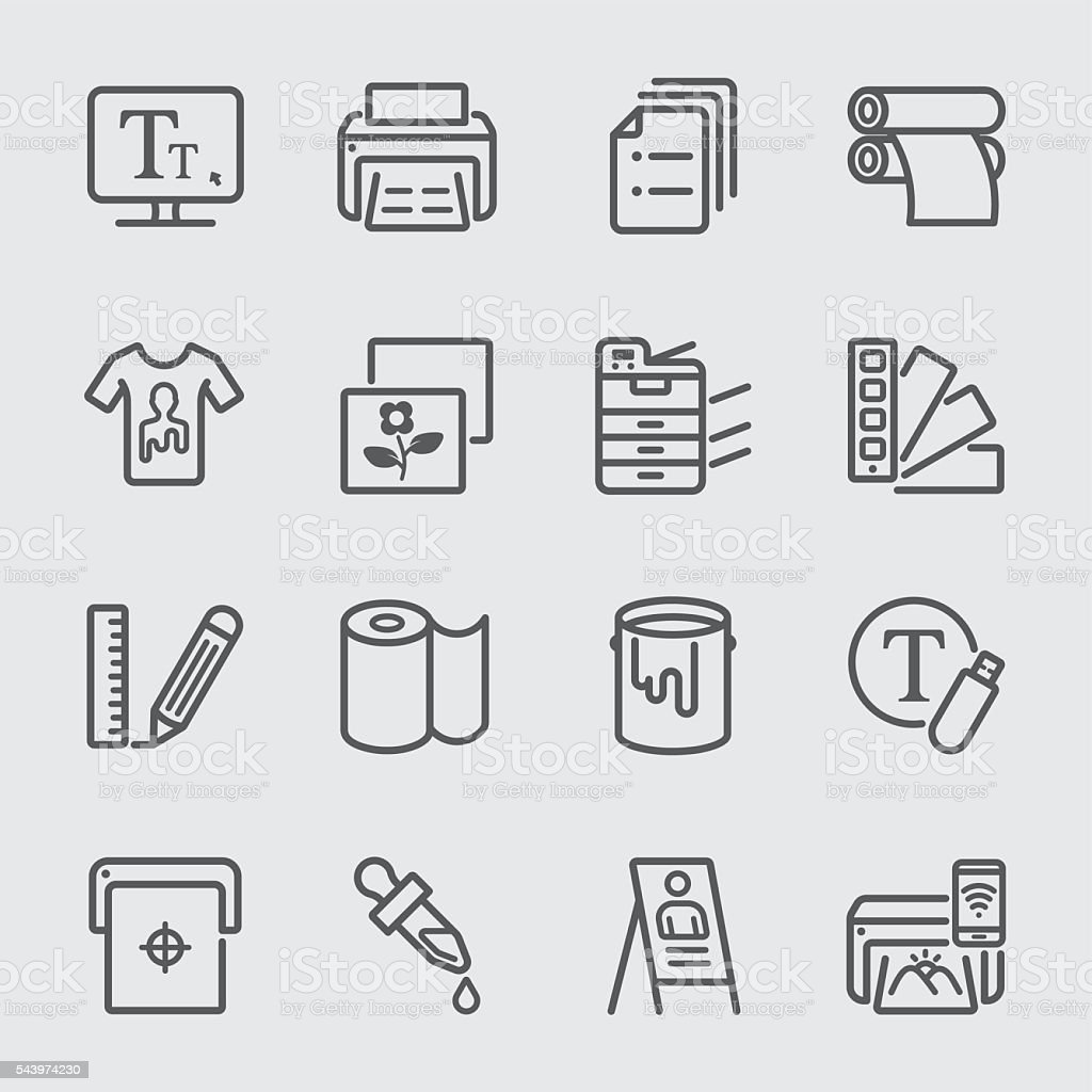 Print line icon vector art illustration