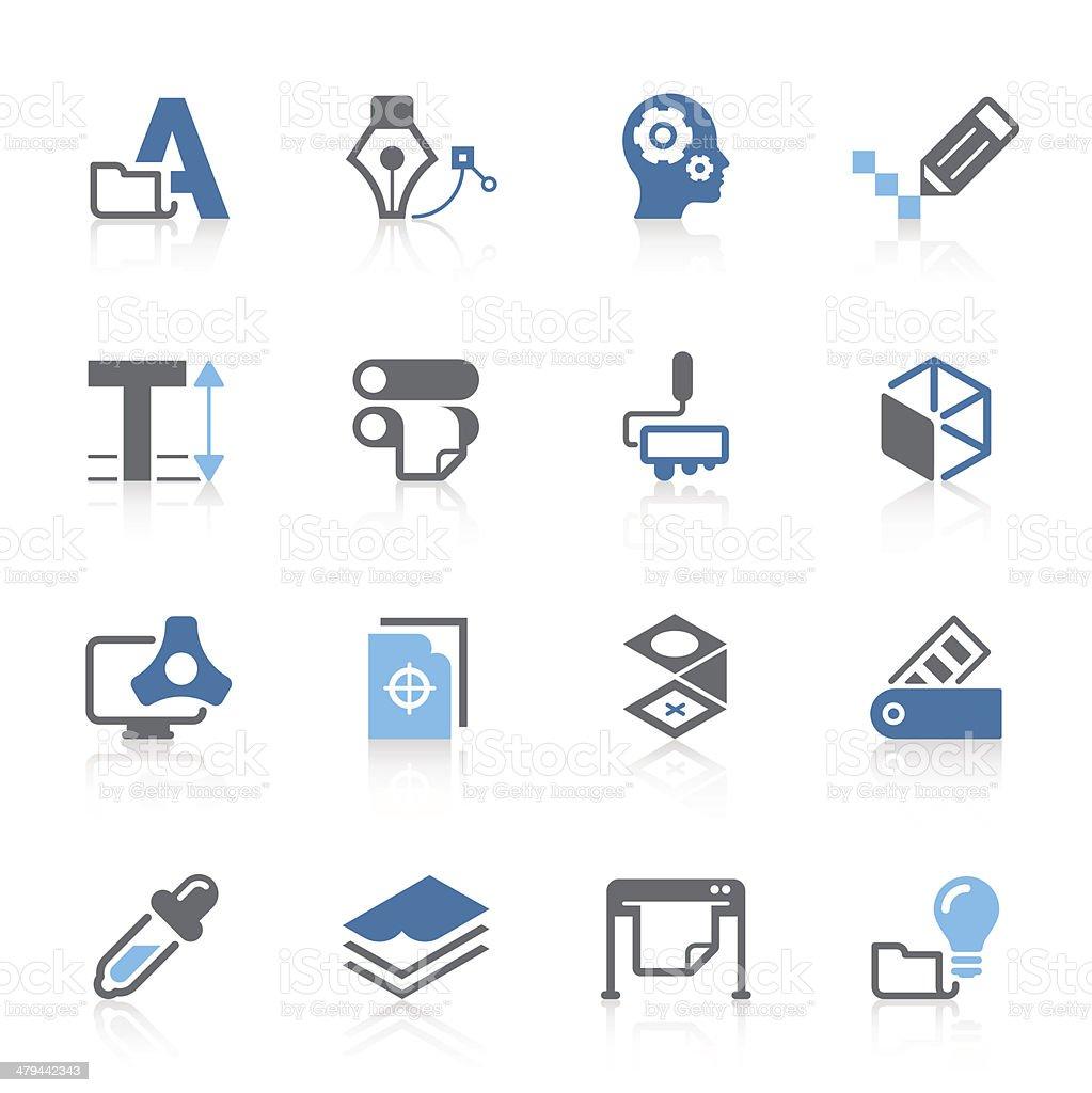 print & press icon | azur series royalty-free stock vector art