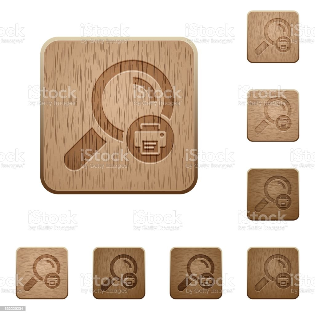Print search results wooden buttons vector art illustration