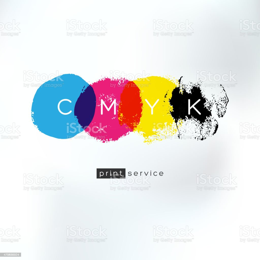 CMYK print service artistic concept vector art illustration