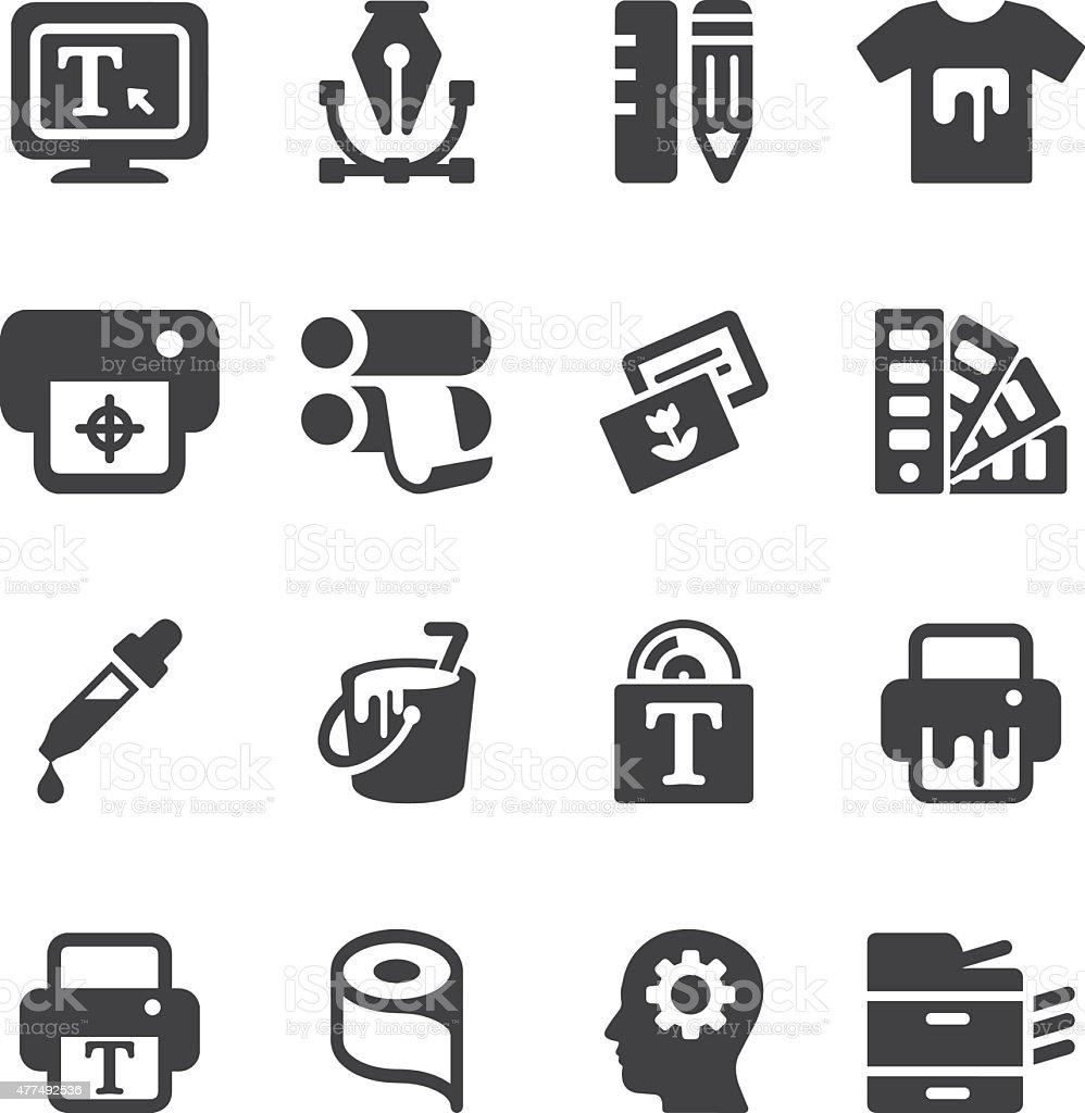 Print Silhouette icons   EPS10 vector art illustration