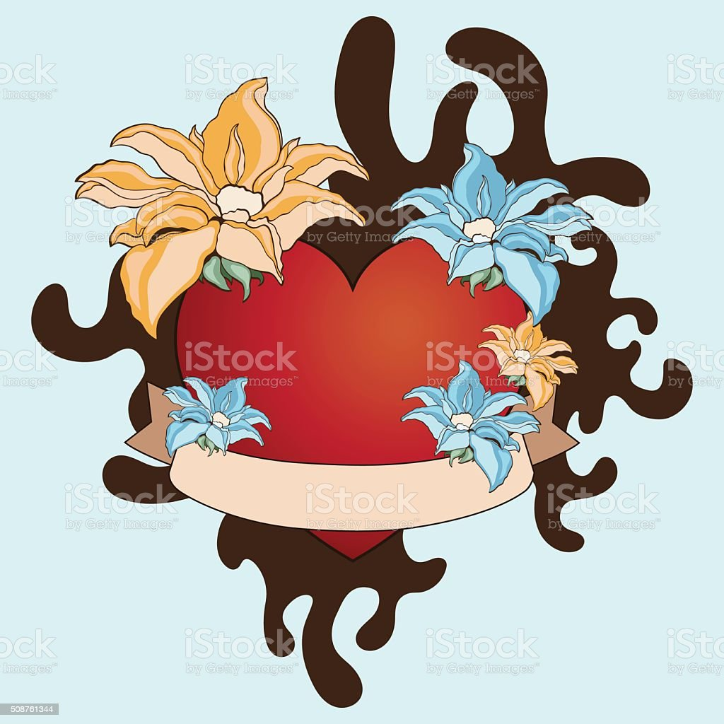 Print Tattoo heart and flowers. Abstract Blob, tape labels. Vintage royalty-free stock vector art