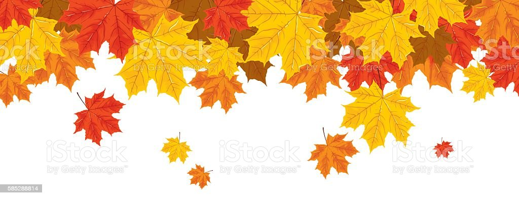print with autumn leaves vector art illustration