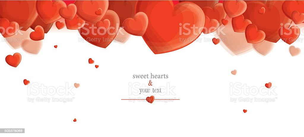 print with red hearts vector art illustration