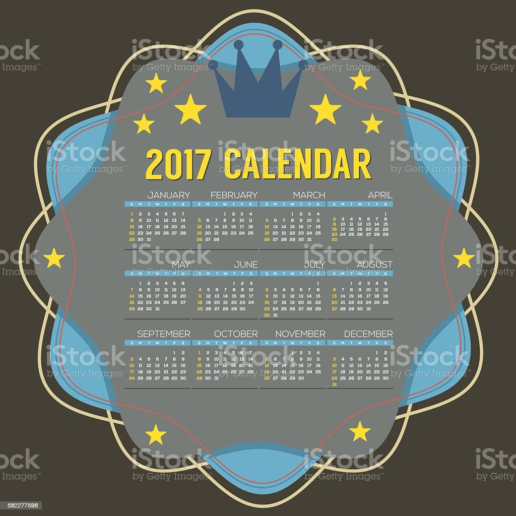 2017 Printable Calendar 12 Months Starts Sunday. vector art illustration
