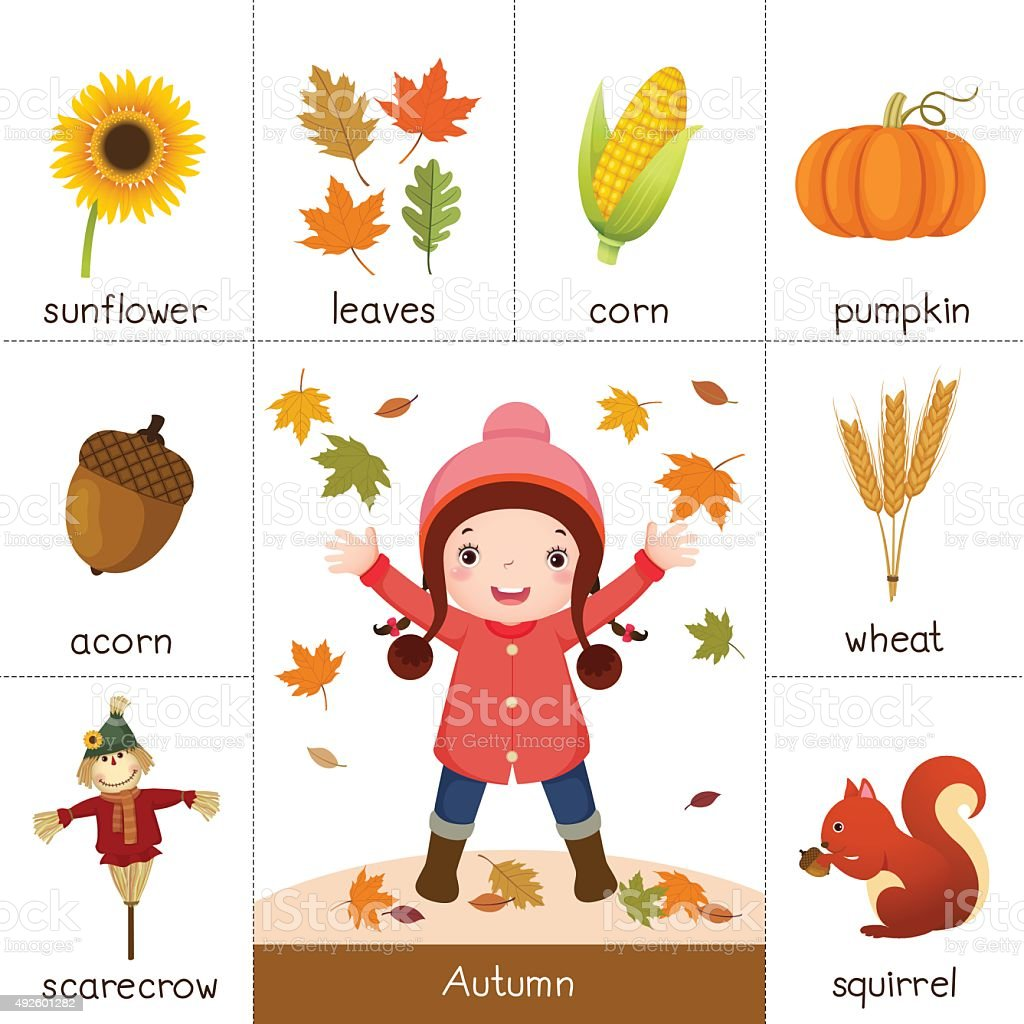 Printable flash card for autumn and girl playing with autumn leaves vector art illustration