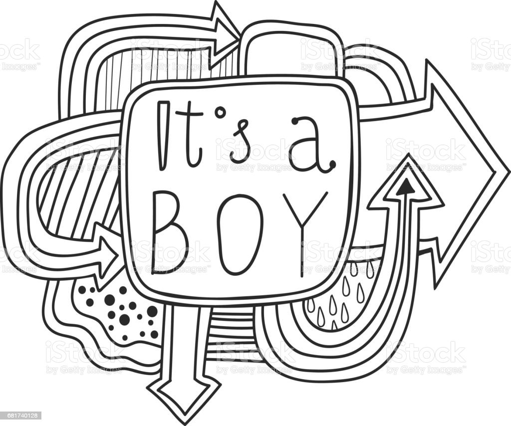 printable scrapbook sticker its a boy fun summer doodle frame