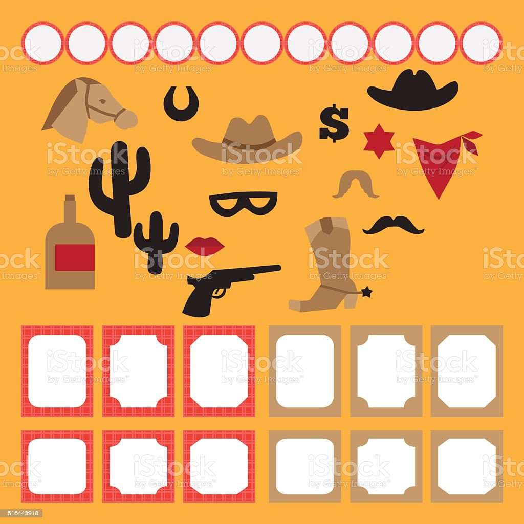 Printable set of vintage cowboy party elements vector art illustration