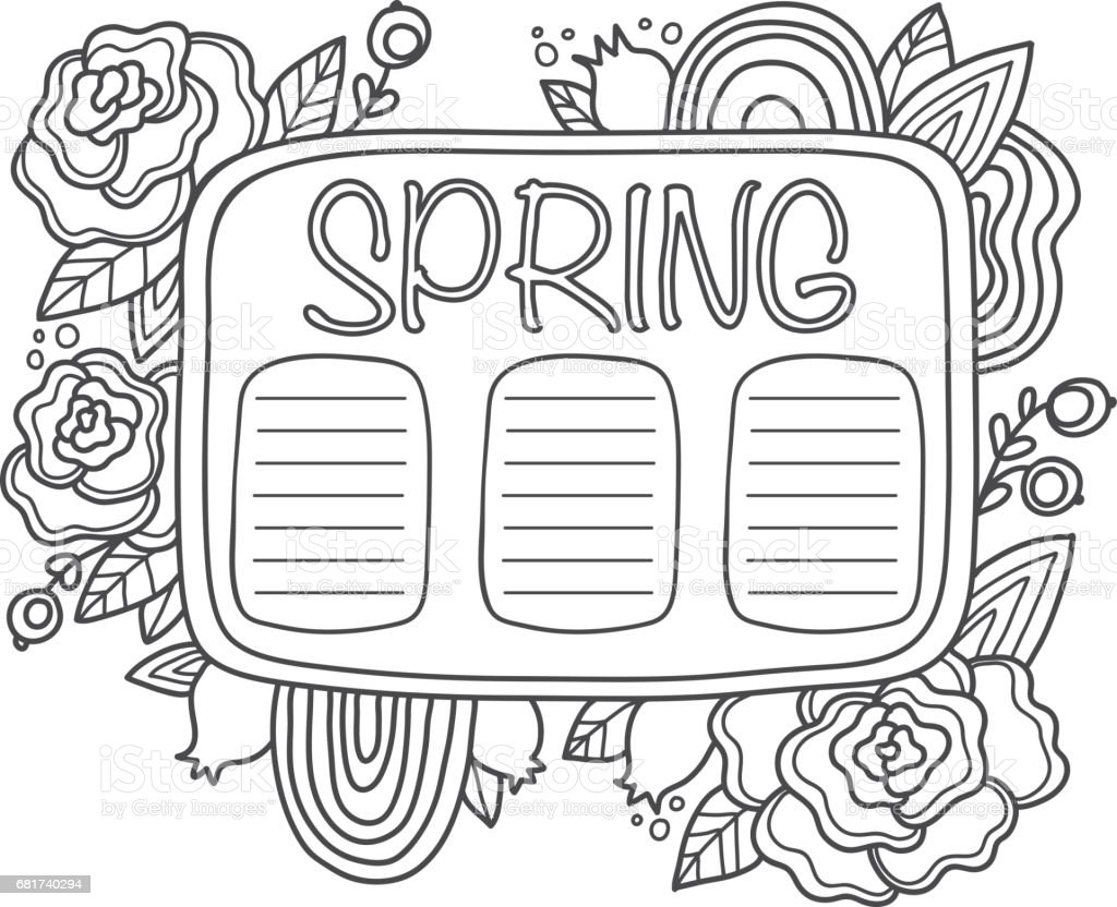printable spring schedule page fun summer doodle frame floral