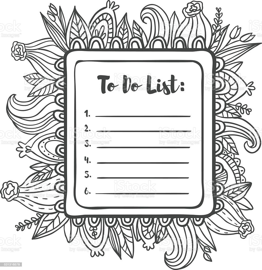 printable to do list page coloring page stock vector art 531316578