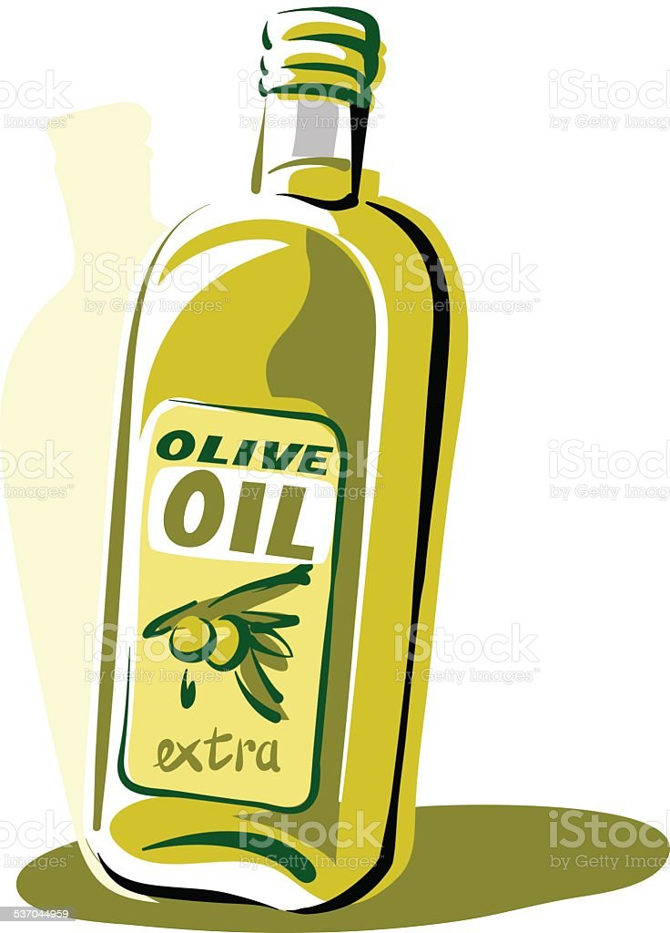Printbottle of olive oil vector art illustration