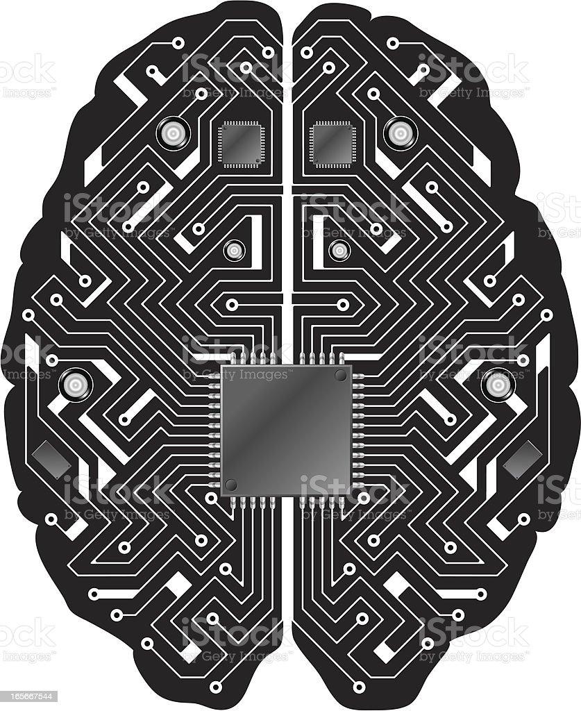Printed circuit board black brain royalty-free stock vector art