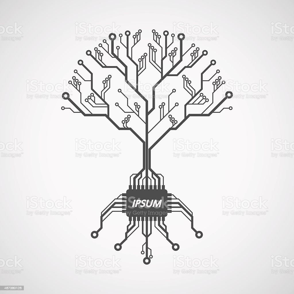 printed circuit board tree vector art illustration