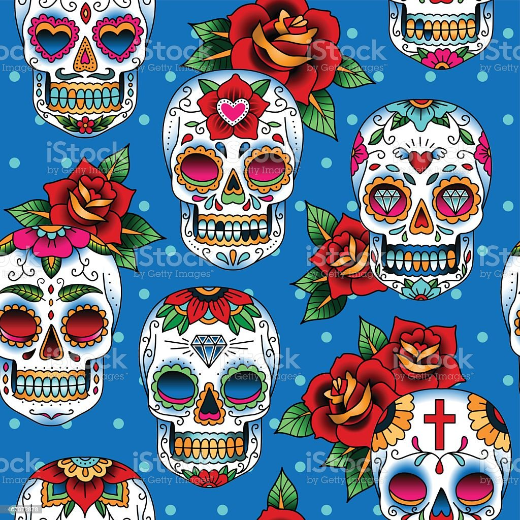 Printed graphic art with colorful decorated skulls vector art illustration