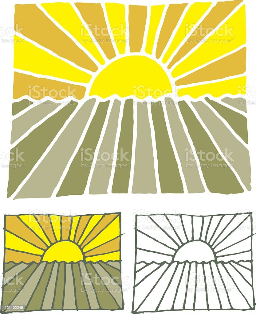 Printed sunset illustration royalty-free stock vector art