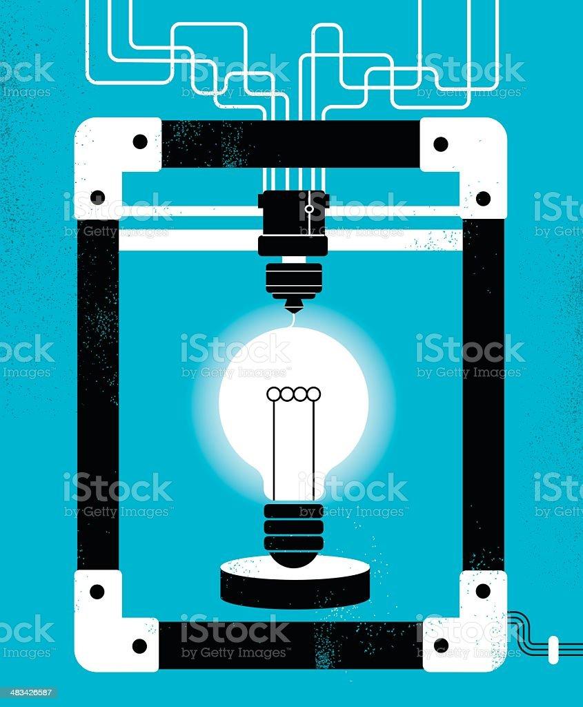 3D Printer Create Ideas royalty-free stock vector art