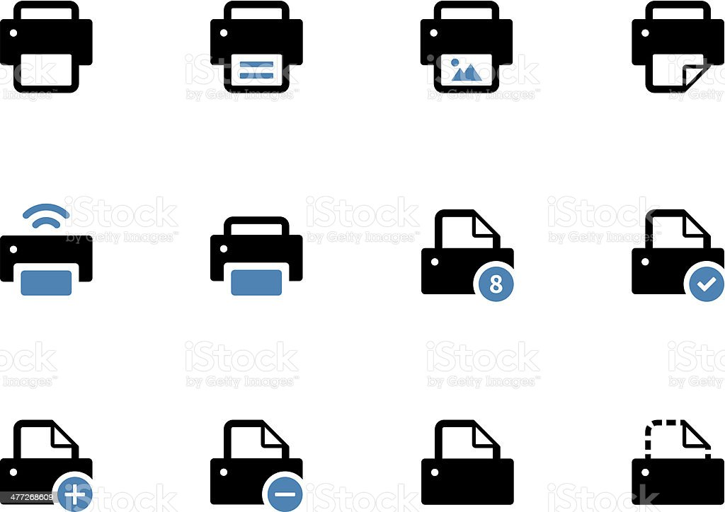 Printer duotone icons on white background. vector art illustration