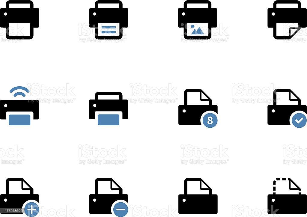 Printer duotone icons on white background. vector art illustration