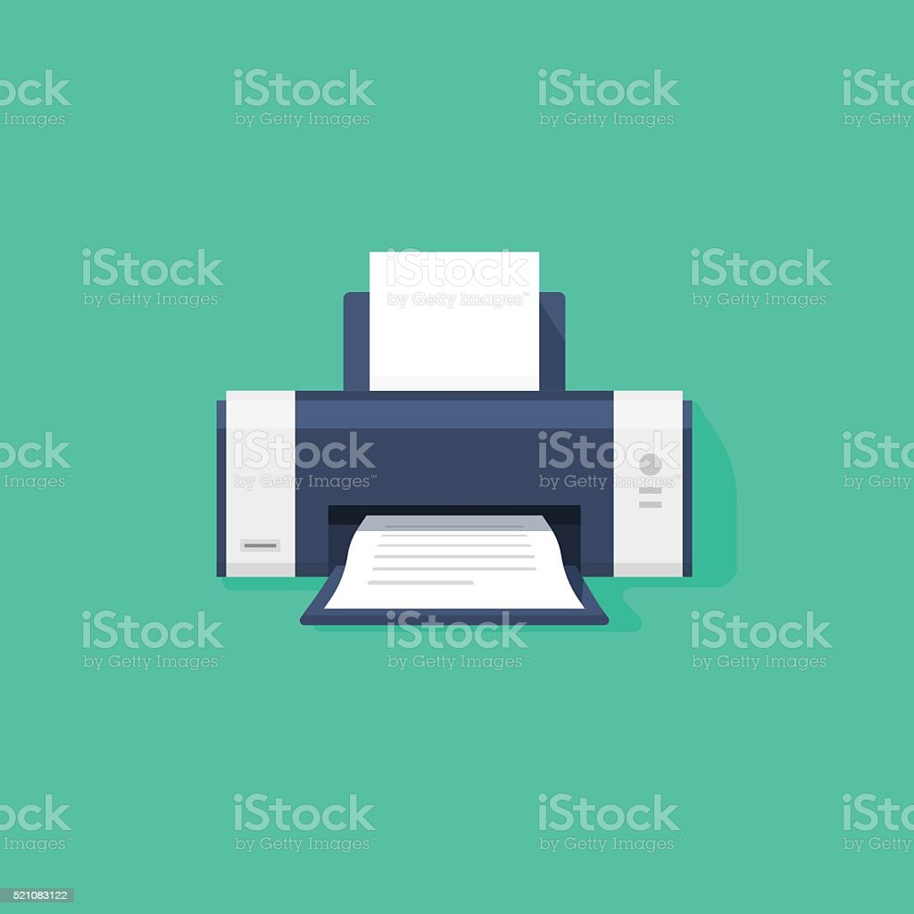 Printer flat vector icon with shadow vector art illustration