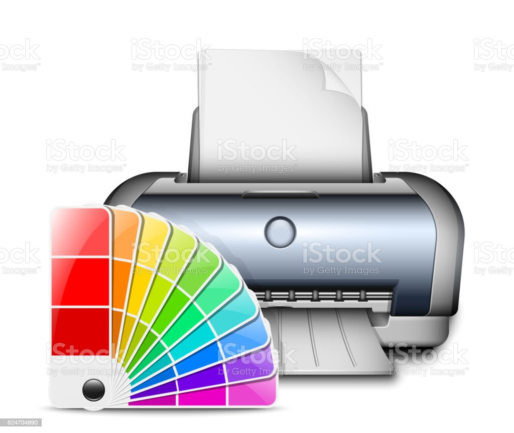 Printer icon with color palette. Vector Illustration vector art illustration