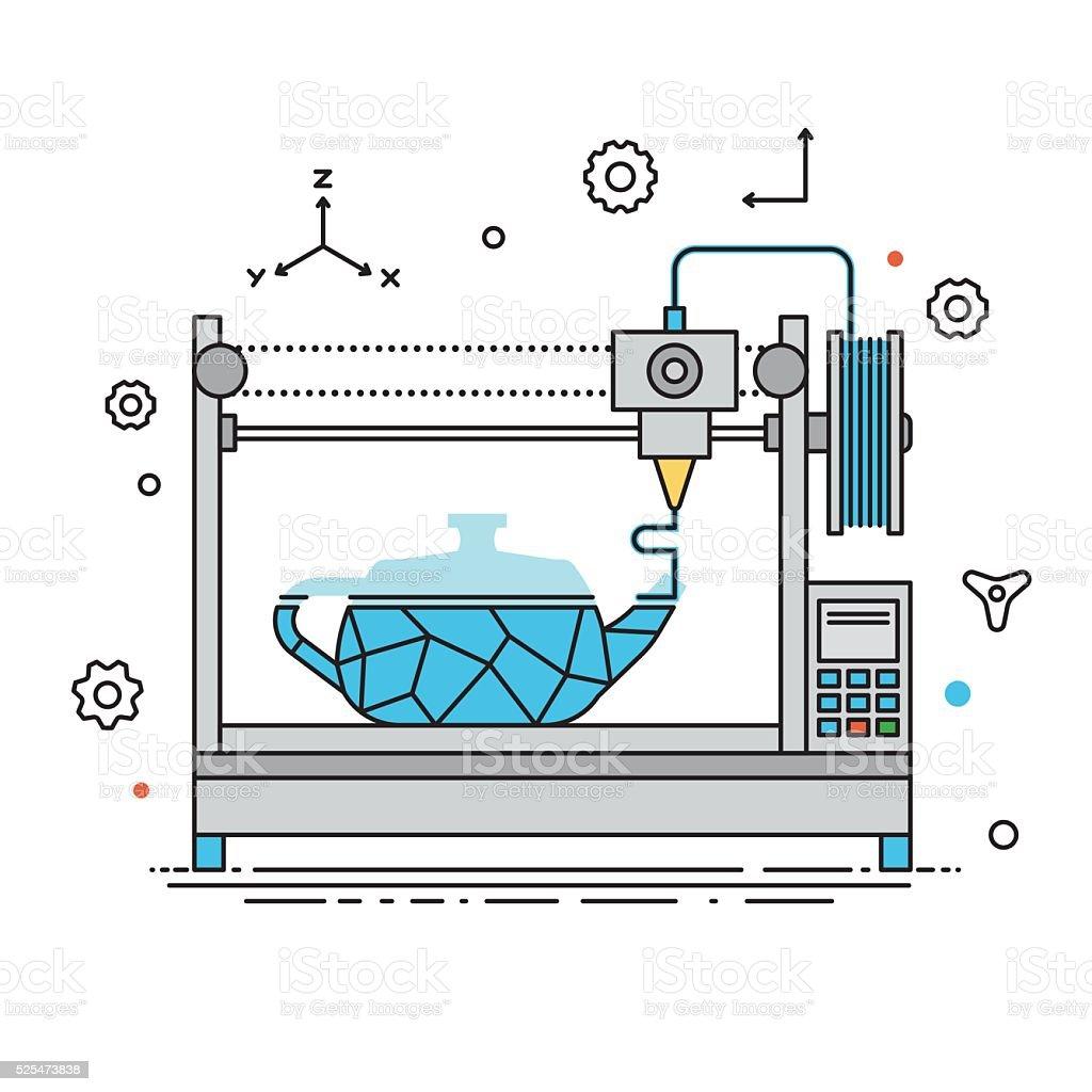 3D Printer lines design vector illustration vector art illustration