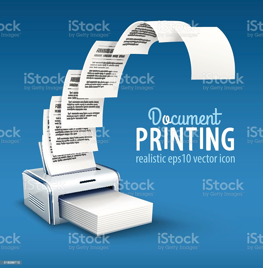 Printer printing copies of text to paper with copyspace vector art illustration