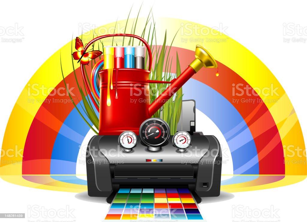 Printer service emblem vector art illustration