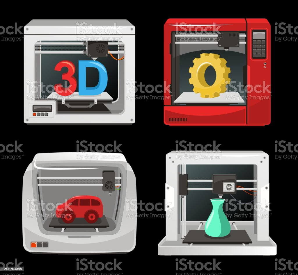 3D Printer Set vector art illustration