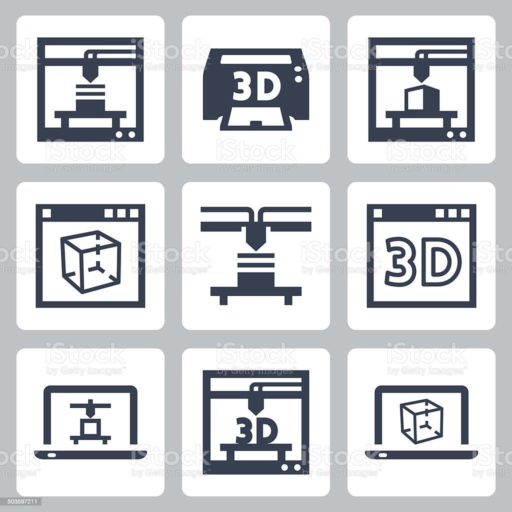 3D printer vector icons set vector art illustration