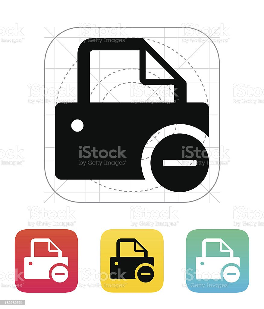 Printer with minus sign icon. royalty-free stock vector art
