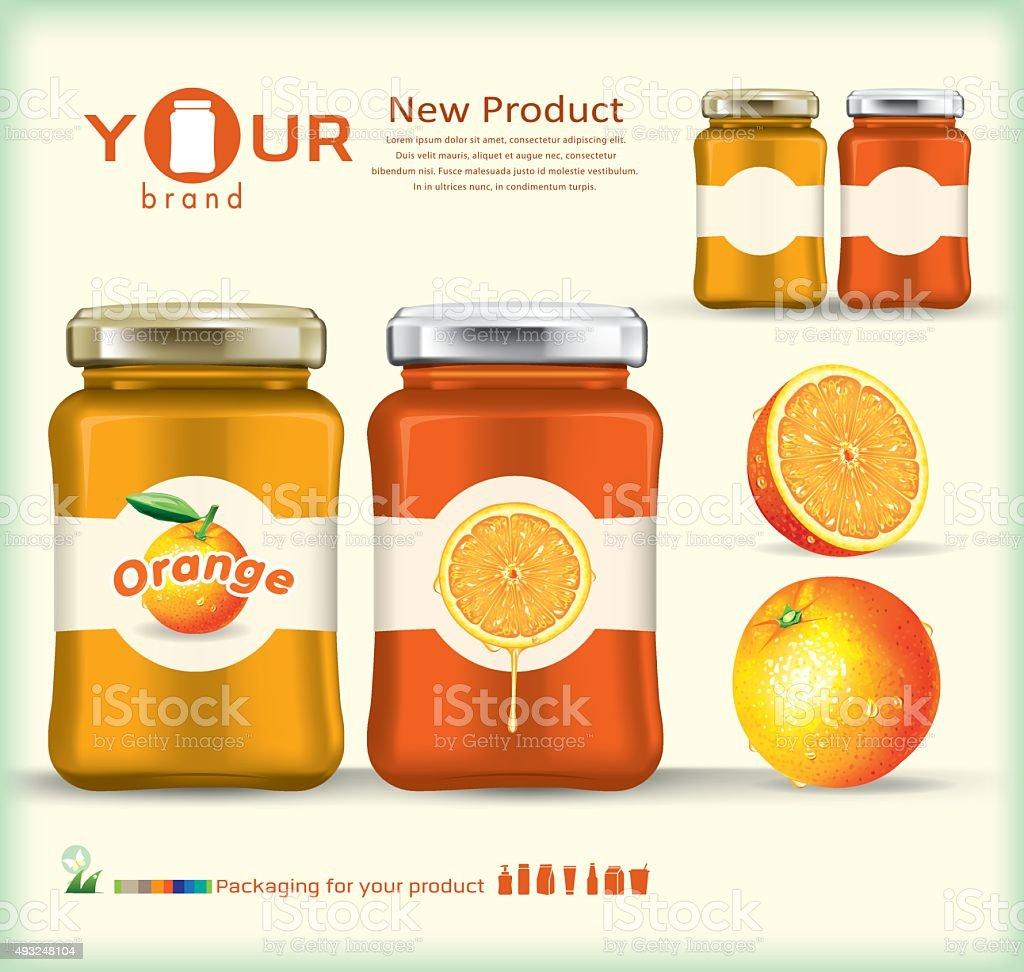 PrintGlass bottle packaging for fruit jam design.orange vector art illustration